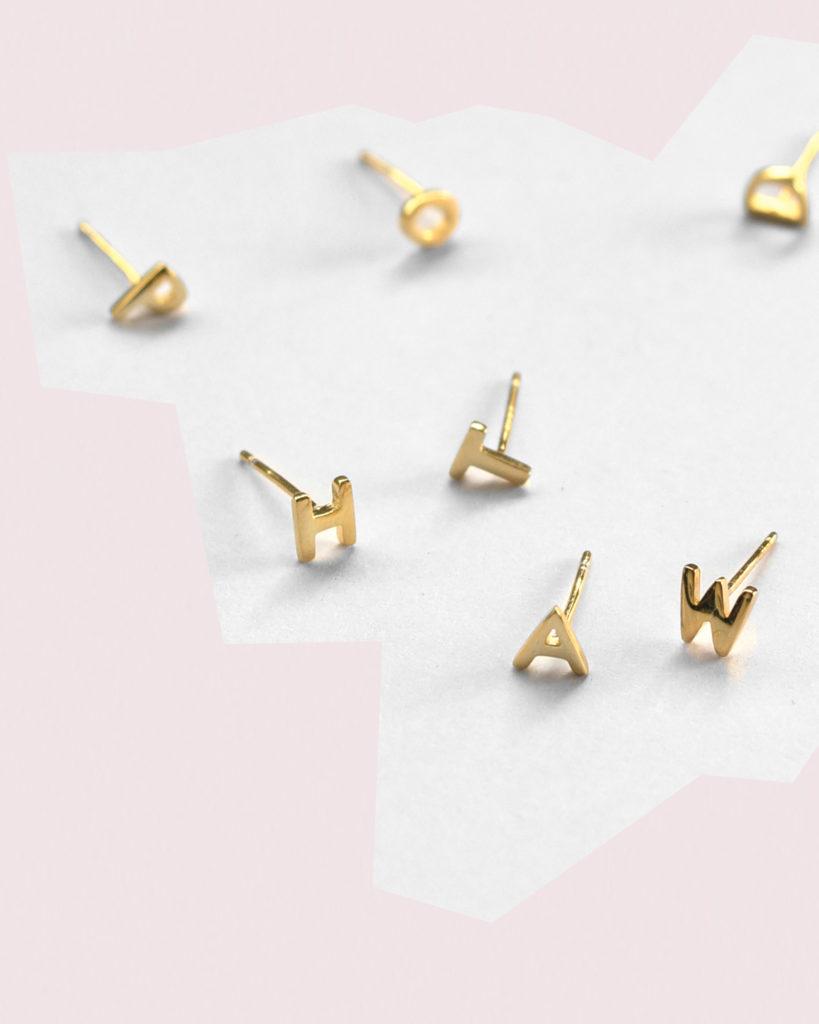sophie little letter silver earrings christmas gift