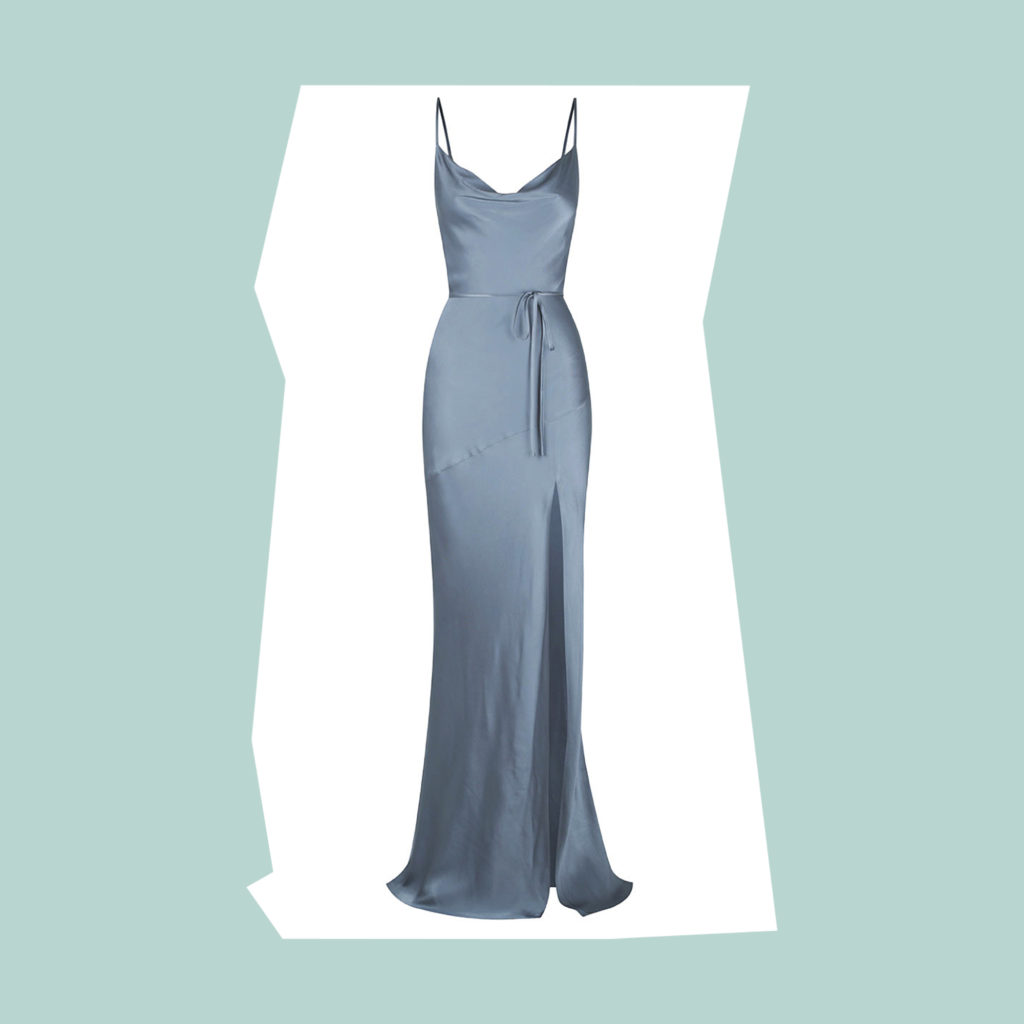 shona joy bias cowl dress with split and tier