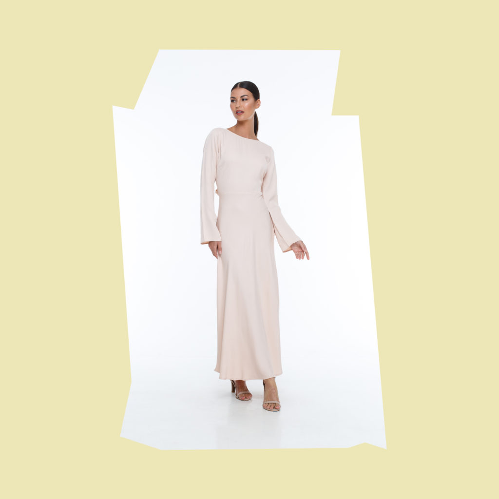blak pink long sleeved bridesmaid dress
