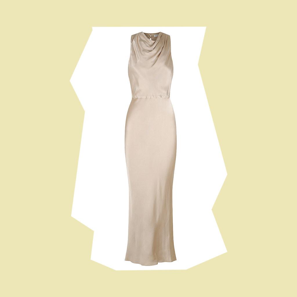 shona joy LA LUNE HIGH NECK MIDI DRESS - GOLD
