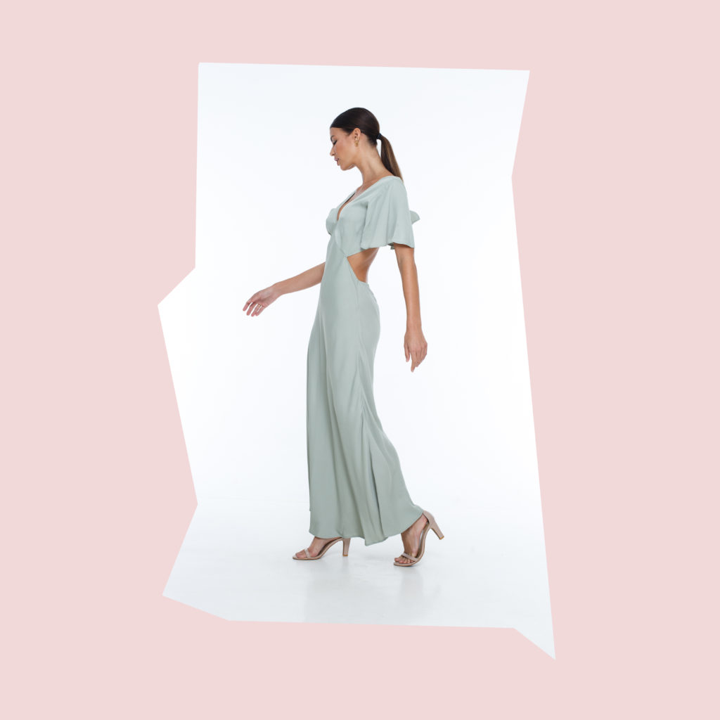 blak green bridesmaid dress