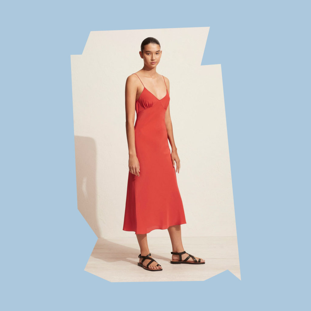 sisters and co low back slip dress poppy