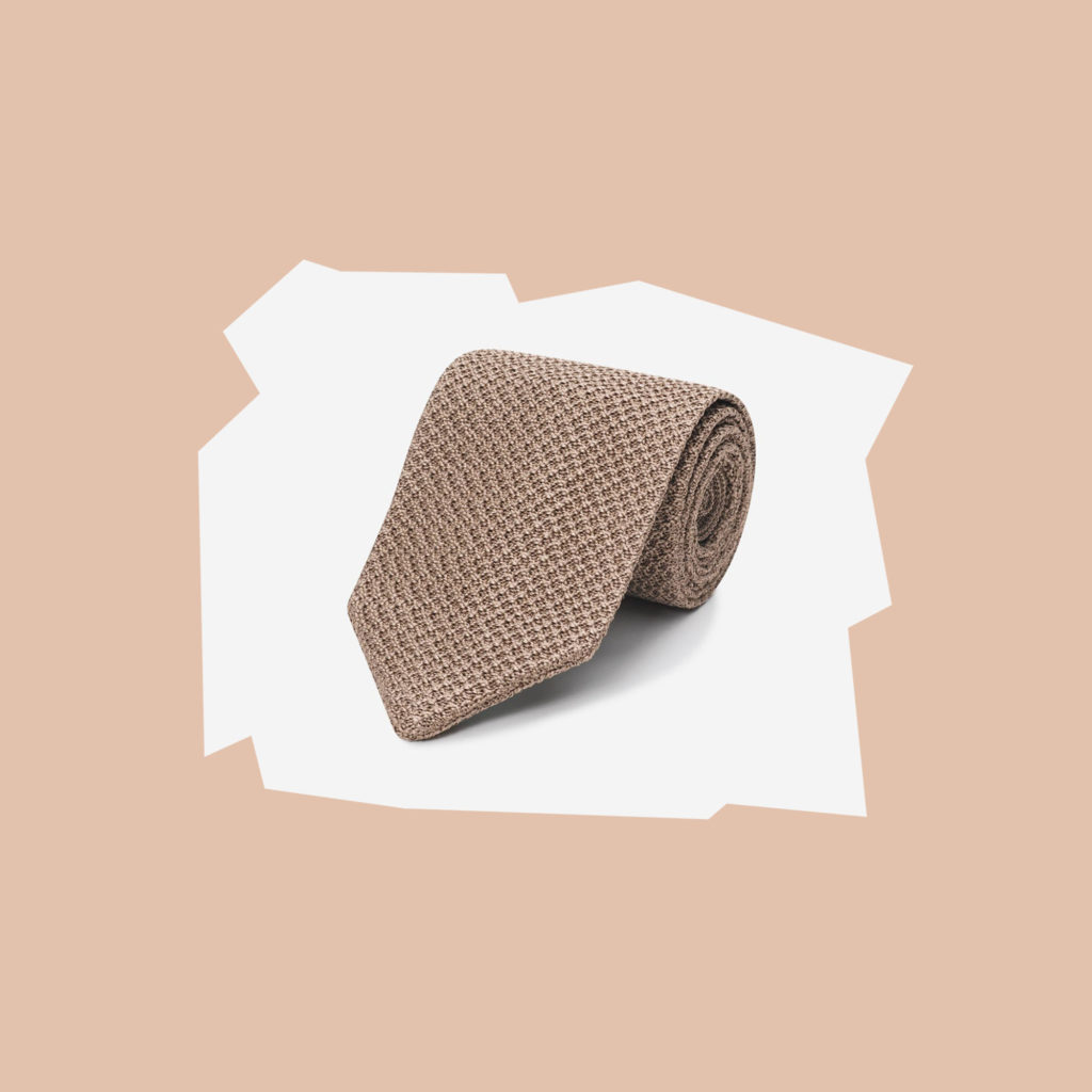 working style beige knitted tie